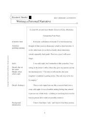 Personal Narrative Essay Example High School Personal Narrative Essay Examples For College Examples Of Narrative