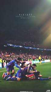 a wallpaper of the celebration of the 6th goal for fcb in their historic eback against psg in the chions league barca msn wallpaper