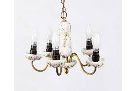9 10 vintage porcelain brass 4 light chandelier