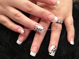 Eye Candy Nails & Training - White glitter tips with black and ab ...
