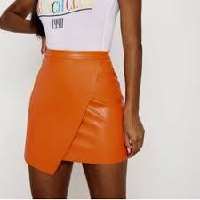 olivia 8991 2 days ago kellyville australia prettylittlething orange faux leather skirt