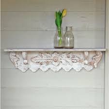 helmsley carved white washed wall shelf