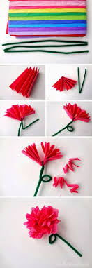 Easy Tissue Paper Flowers is a photo craft tutorial showing how to use tissue  paper to make various types of decorative flowers.