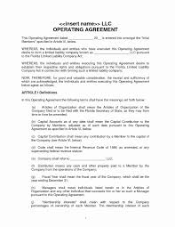 Operation Agreement Llc Template Luxury Operating Agreement Template ...