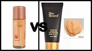 blue heaven makeup foundation vs oil free foundation