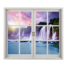 Artificial Window Waterfall Pag 3d Artificial Window Wall Decals Colorfullcloud Room