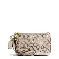 The Poppy Small Wristlet In Sequin Signature C Fabric from Coach