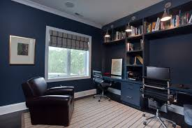 navy blue trim home office contemporary with striped rug dark floor blue home office ideas