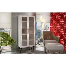 manhattan comfort serra 5 shelf white bookcase with frosted glass doors and splayed wooden feet