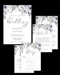 Wedding Invitation Set Templates Floral Wedding Invitation Suite Templates Download Set Of 5