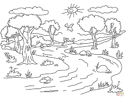 Coloring : River Landscape Coloring Page Free Printable Pages Book ...