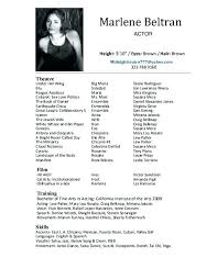 Sample Acting Resume No Experience Theater Acting Resume Example