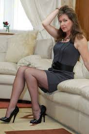 Mature women putting on nylons