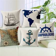 small pillow covers. Delighful Pillow Dropship Ocean Series Vintage Anchors Cushion Covers World Map Garden Small  Cotton Linen Promotion Home Decoration On Pillow L