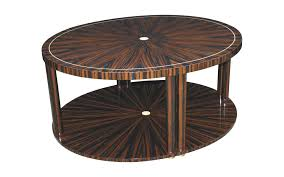 art deco coffee table macassar ebony glossy varnished wood round ct015