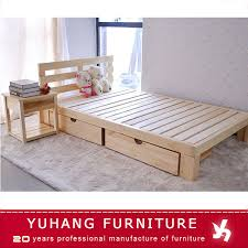 Source Wooden box bed design wooden double bed with drawers wooden