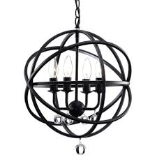 this is s benita antique black metal sphere 4 light crystal chandelier and is on for 113 89
