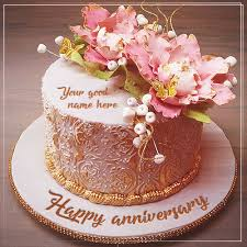 Write Name On Anniversary Cake With Great Love