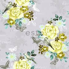Vogel Behang Geel Turquoise Lila Grijs