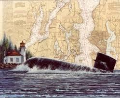 Coast Guard Chart Art Submarine Surfacing At Alki Pt Lighthouse Chart Art By