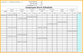 Monthly Time Schedule Template Employee Plan Meeting Free
