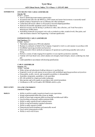 Assembler Resume Samples Cable Assembler Resume Samples Velvet Jobs 9