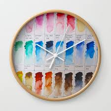watercolor swatches wall clock by