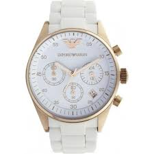 ladies armani watches from ticwatches co uk womens emporio ar5920 white and rose gold women s chronograph watch