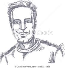 Vector Portrait Of Handsome Smiling Man Illustration Of Good Looking Happy Guy Person Emotional Face Expression