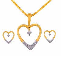 designer pendant sets heart shape real diamond pendant set voylla