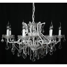 white 8 branch shallow cut glass chandelier