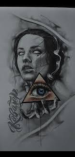 эскиз тату хорор девушка глаз тату Tattoo Kavalerart эскиз