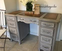 This French style desk with leather top & curves was painted in Prairie  chalk paint with