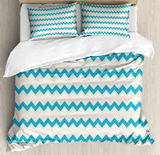 teal duvet cover set horizontal zigzag lines chevron triangles pattern simple classical geometric design decorative bedding set with pillow shams