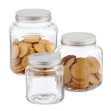 Glass Cracker Jars with Aluminum Lids  2 qt.