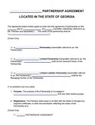 Sample Partnership Agreement Form Free Georgia Partnership Agreement Template Lp Llp Lllp