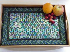 Luxurious Mosaic Serving Tray - Handmade Lap Desk - Stained Glass -  Iridescent Diamonds - Tumbling