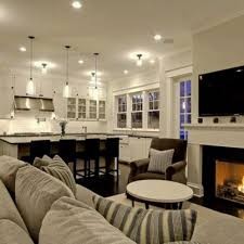 Kitchen Family Room Layout Kitchen Cozy Family Room Design Idea With Kitchen Also Warm