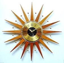 vintage sunburst clock starburst wall clock silver medium image for retro sunburst wall clock starburst retro