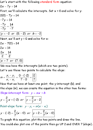 x intercept and y intercepts are two points on a line you can calculate the slope knowing these values you can derive the other two equation forms