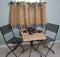 Kitchen Cafe Curtains Burlap And Gingham Cafe Curtains New Kitchen Table And Chairs
