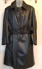 mens vintage leather trench coat black long cowhide 40 short 40s medium retro 1970s mint winter zip liner warm y mod canada heavy cowhide
