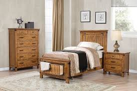 4 Piece Brenner Rustic Honey Platform Storage Bedroom Set (KSWXO205260)