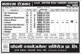 Industrial Electrician Salary Jobs In United Gulf Cement Company Of Qatar Nepali Gulf Jobs