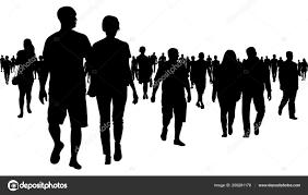 Crowd People Walking Silhouette Stock Vector Irusetkayandexru