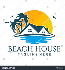 Villa Logo Design Beach House Logo Design Royalty Free Stock Vector Royalty