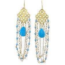picture of emily keifer 14k vermeil turquoise chandelier earrings