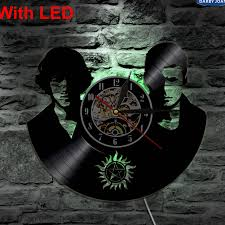 supernatural handmade led vinyl clock silhouette wall light remote control art backlight cool living room color changing