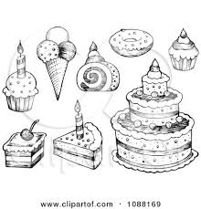 Clipart Black And White Sketched Birthday Cakes Ice Cream And