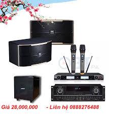 Dàn karaoke gia đình 23 triệu ( Loa karaoke JBL Pasion 8, Amply liền vang  OBT LA-2200, Micro không dây OBT-8668, Sub điện Bose 1200 )